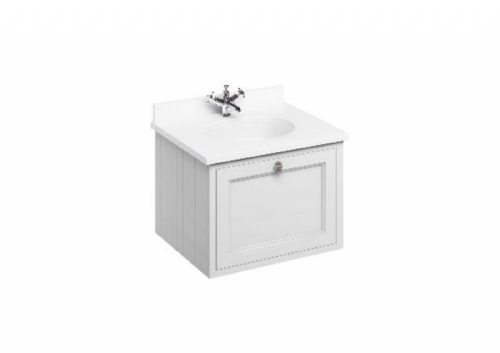 Burlington 650 Wall Hung Unit, Various Colours, Single Drawer With Minerva Plain White Worktop